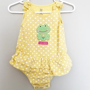 Carter's Baby Girl Adorable Frog One Piece Yellow